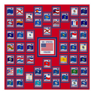 USA 50 STATE FLAGS RED/557 POSTER