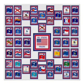 USA 50 STATE FLAGS WHITE/556 POSTER