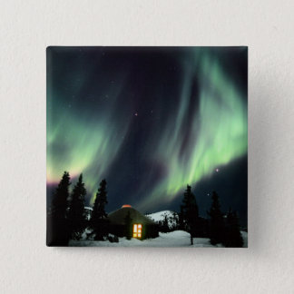 USA, Alaska, Chena Hot Springs. Aurora 2 Inch Square Button