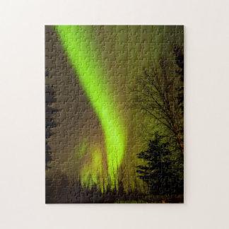 USA, Alaska, Chena Hot Springs. View Of Aurora Jigsaw Puzzle