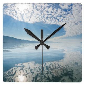 USA, Alaska, Freshwater Bay. Clouds Reflected Square Wall Clock