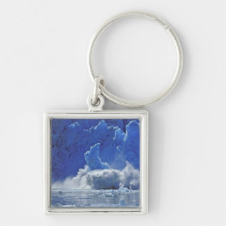 USA, Alaska, Juneau. Part of South Sawyer Silver-Colored Square Keychain