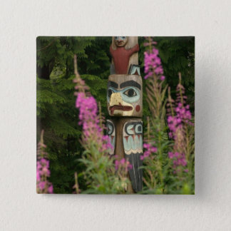 USA, Alaska, Ketchikan, Totem Bight State 2 Inch Square Button