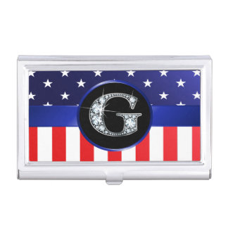 "USA Ameican Flag with G ""Faux"" Diamond Business Card Holder"