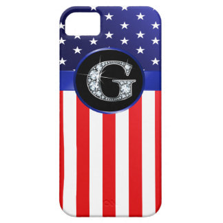 """USA Ameican Flag with G """"Faux"""" Diamond iPhone 5 Cover"""