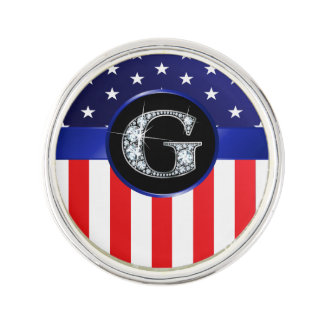 "USA Ameican Flag with G ""Faux"" Diamond Lapel Pin"