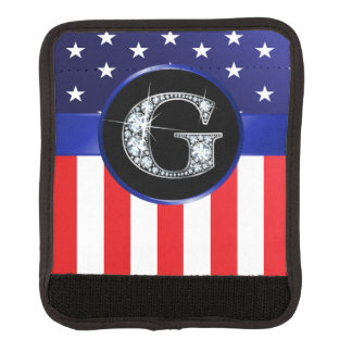 "USA Ameican Flag with G ""Faux"" Diamond Luggage Handle Wrap"