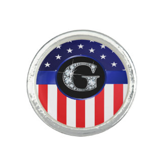 "USA Ameican Flag with G ""Faux"" Diamond Ring"