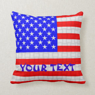 USA America American Flag: ADD TEXT Throw Pillow