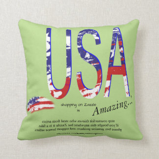 USA America Promotional Copy Text Throw Pillow