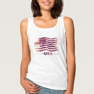 USA America Woman´s Basic Top -  Watercolor Style