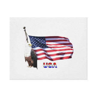 USA American Flag And American Bald Eagle Canvas Print