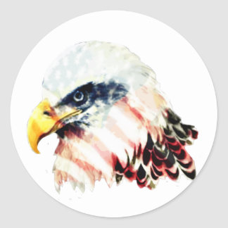 USA American Flag Bald Eagle Design Classic Round Sticker