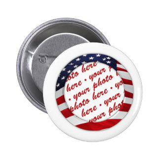 USA American Flag Circle Photo Frame 2 Inch Round Button