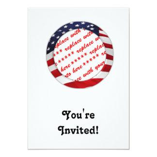 "USA American Flag Circle Photo Frame 5"" X 7"" Invitation Card"