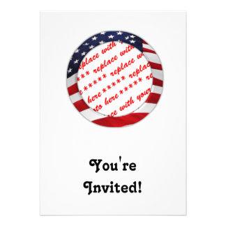 USA American Flag Circle Photo Frame Custom Invite