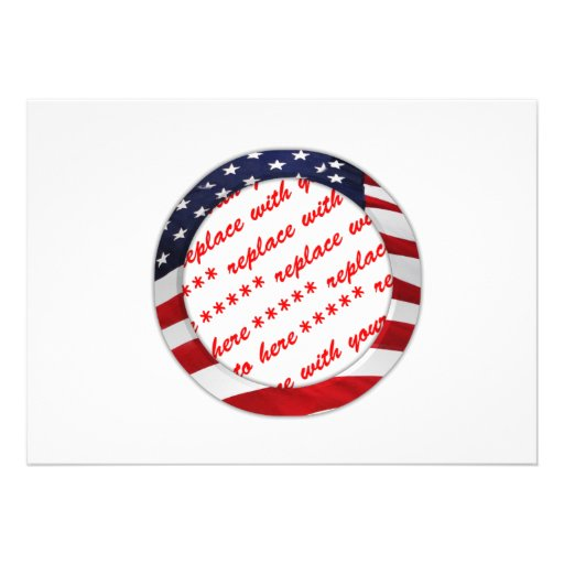 USA American Flag Circle Photo Frame Personalized Invitations