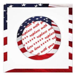 USA American Flag Circle Photo Frame Invite