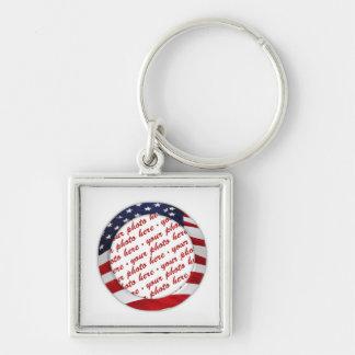 USA American Flag Circle Photo Frame Key Chains