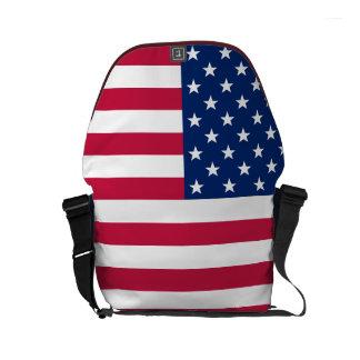 USA American Flag Commuter Travel Messenger Bag