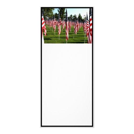 USA American Flag Corner Flag Memorial Custom Rack Card