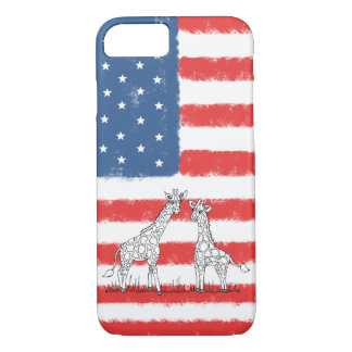 USA American Flag Giraffe Conservation Doodle Case-Mate iPhone Case