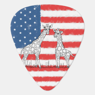 USA American Flag Giraffe Conservation Doodle Guitar Pick