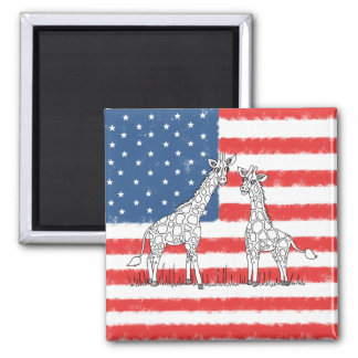 USA American Flag Giraffe Conservation Doodle Magnet