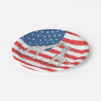USA American Flag Giraffe Conservation Doodle Paper Plate