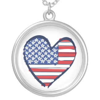 USA American Flag in a Heart Silver Plated Necklace