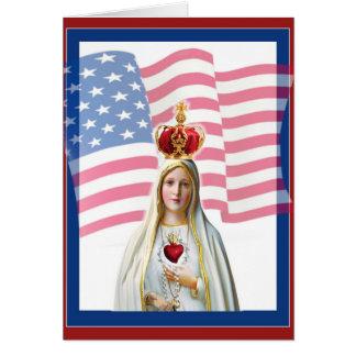 USA AMERICAN FLAG LADY OF FATIMA CARD
