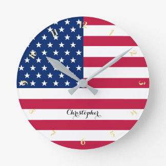 USA American Flag Patriotic Custom Name Room Decor Round Clock