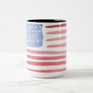USA American Flag Pride Two-Tone Coffee Mug