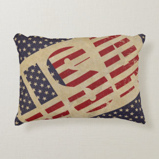 USA American Flag Stars Stripes Antique Pillow