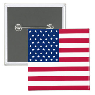 USA American Flag Stars Stripes Square Pin Button