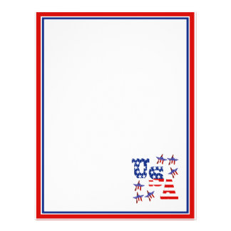 USA American Flag Text w/Red White & Blue Border Full Color Flyer