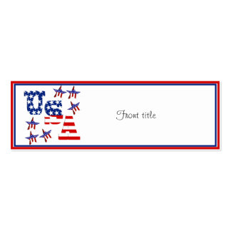 USA American Flag Text w/Red White & Blue Border Mini Business Card