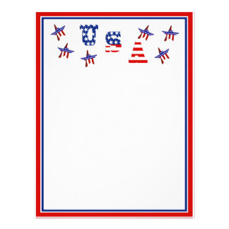 USA American Flag Text w/Red White & Blue Border Personalized Letterhead