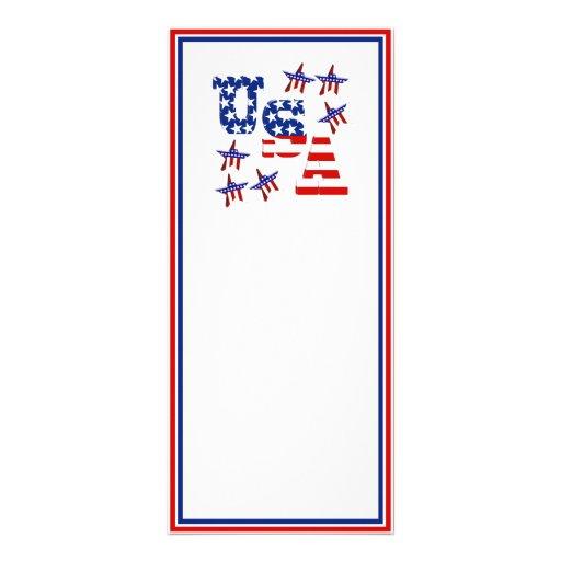 USA American Flag Text w/Red White & Blue Border Custom Rack Cards