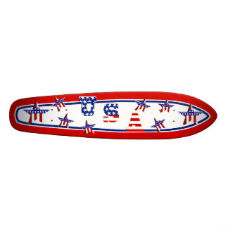 USA American Flag Text w/Red White & Blue Border Skateboard