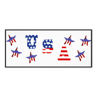 USA American Flag Text with Stars & Stripes Rack Cards