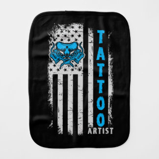 USA American Flag with Tattoo Artist Burp Cloth
