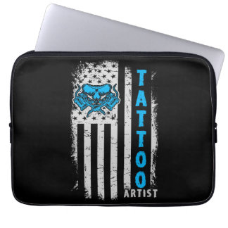 USA American Flag with Tattoo Artist Laptop Sleeve