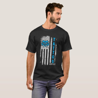 USA American Flag with Tattoo Artist T-Shirt