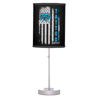 USA American Flag with Tattoo Artist Table Lamp