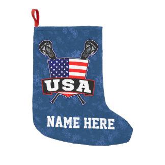 USA American Lacrosse Flag Christmas Stocking