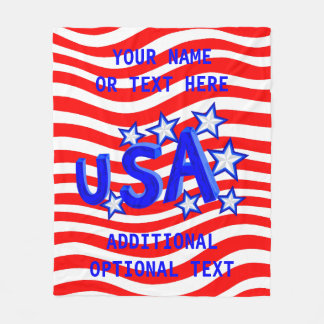 USA American Pride Blue And Silver Stars Decor Fleece Blanket