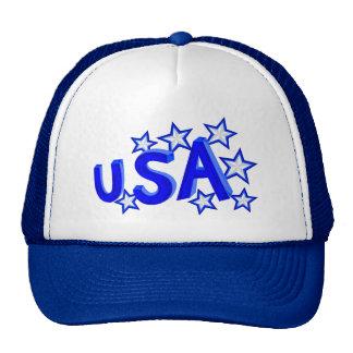 USA American Pride Blue And Silver Stars Trucker Hat
