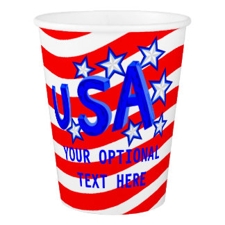 USA American Pride Blue Stars July 4th Party Paper Cup