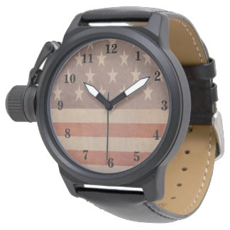 USA American Vintage Flag Wristwatch